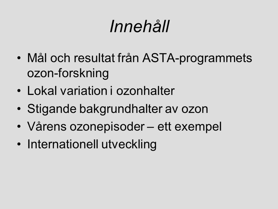 Innehåll Mål och resultat från ASTA-programmets ozon-forskning