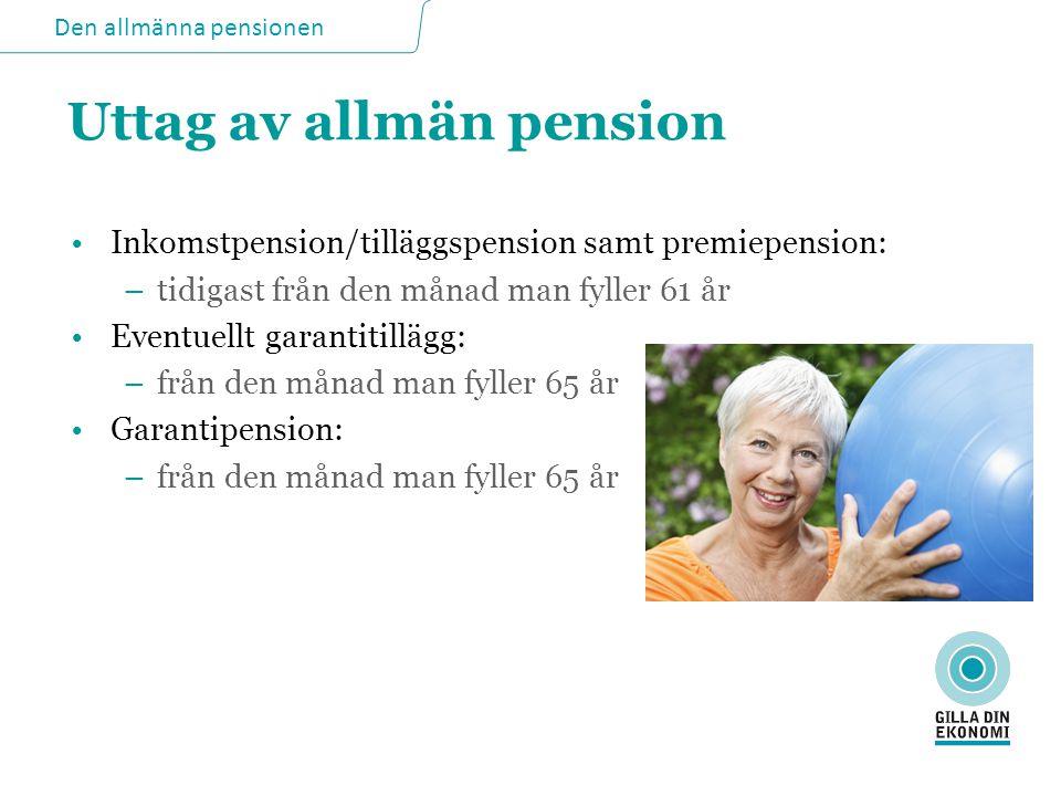 Uttag av allmän pension