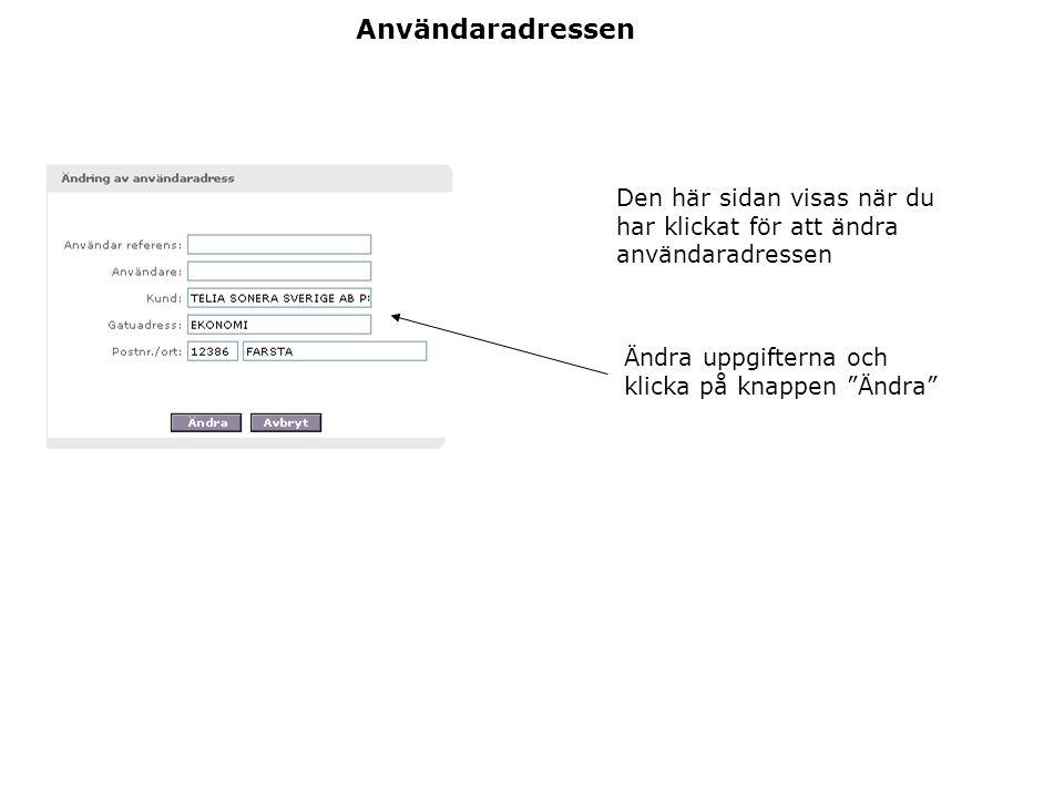 Användaradressen Den här sidan visas när du