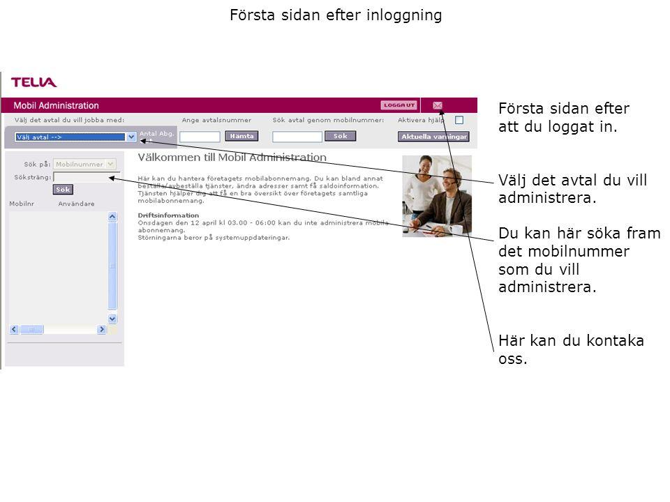 Första sidan efter inloggning