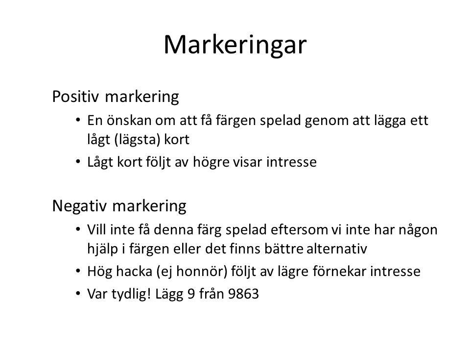 Markeringar Positiv markering Negativ markering