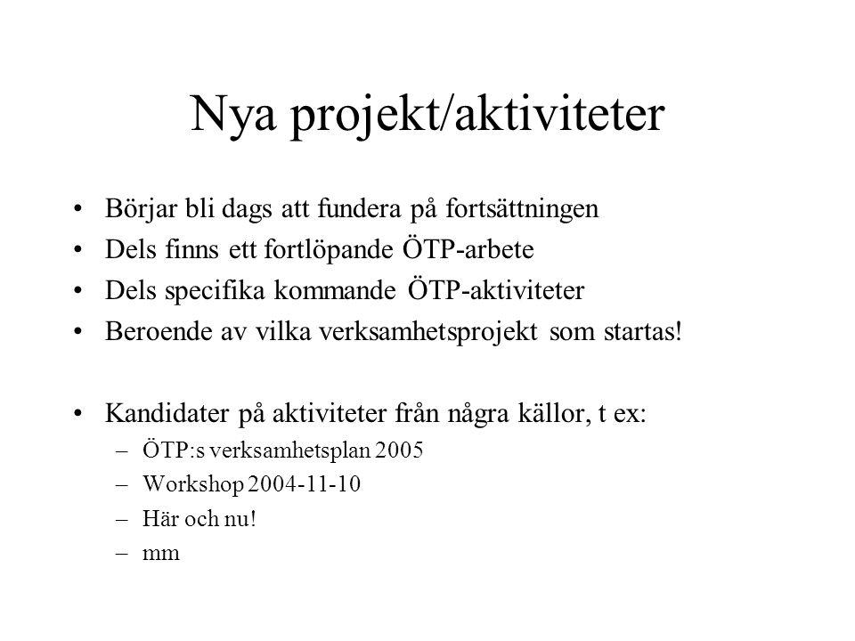 Nya projekt/aktiviteter