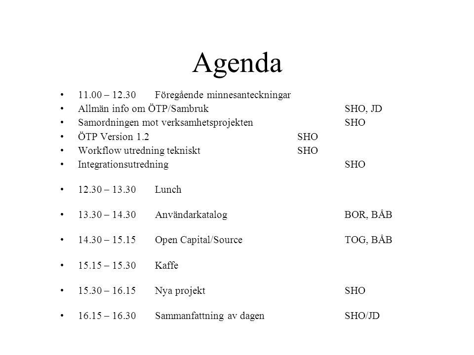 Agenda 11.00 – 12.30 Föregående minnesanteckningar