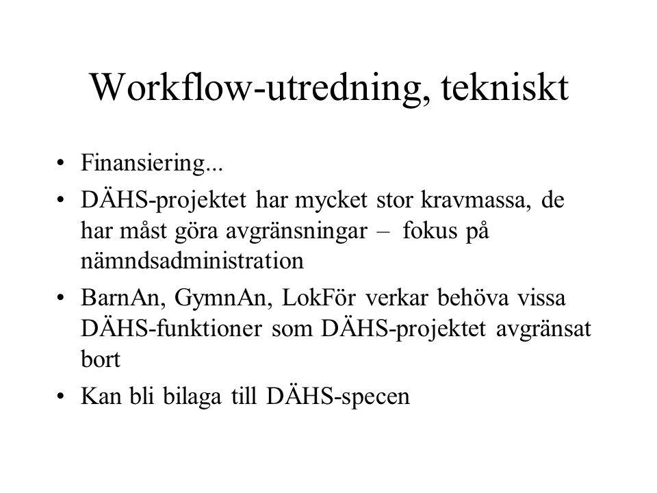 Workflow-utredning, tekniskt