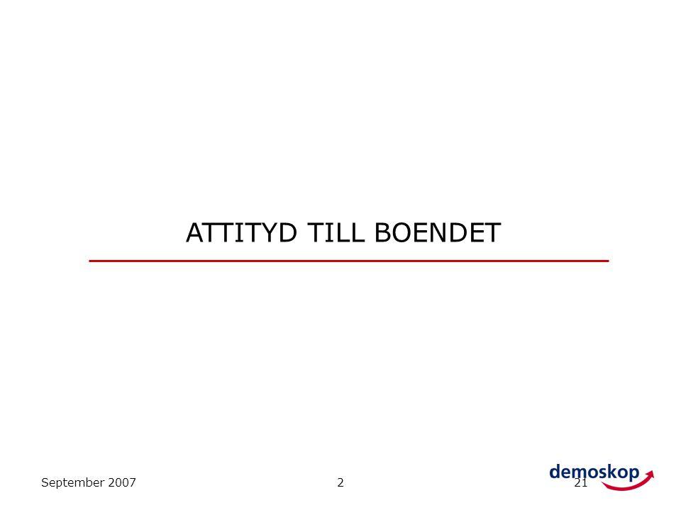 ATTITYD TILL BOENDET September 2007 2