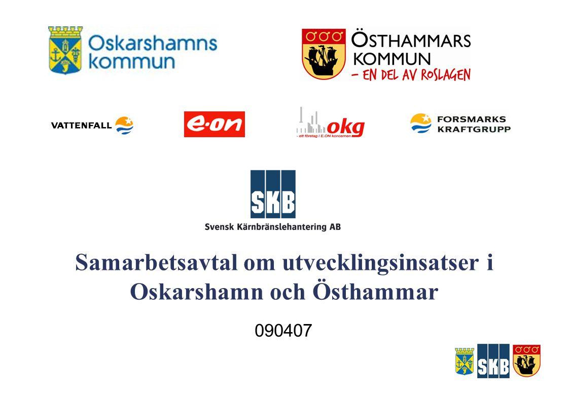Samarbetsavtal om utvecklingsinsatser i Oskarshamn och Östhammar