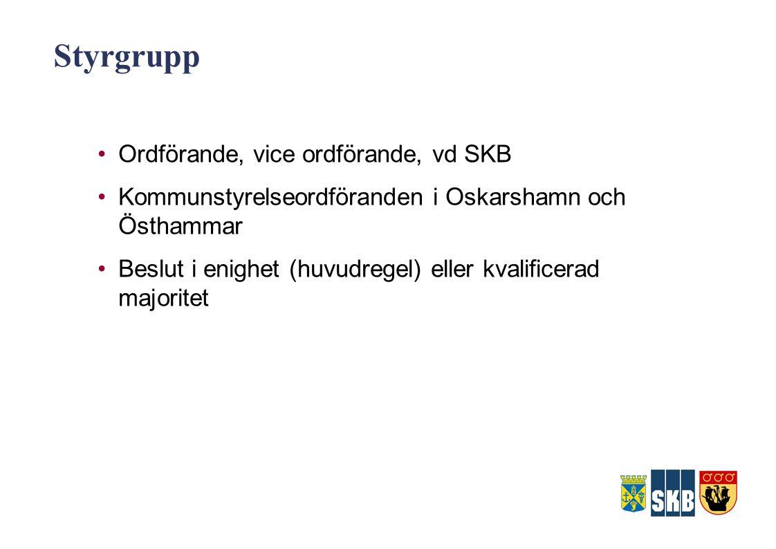 Styrgrupp Ordförande, vice ordförande, vd SKB