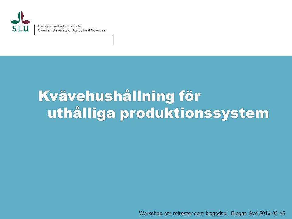 Kvävehushållning för i uthålliga produktionssystem