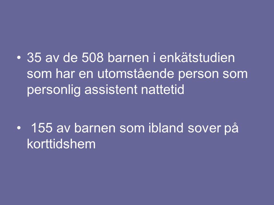35 av de 508 barnen i enkätstudien som har en utomstående person som personlig assistent nattetid