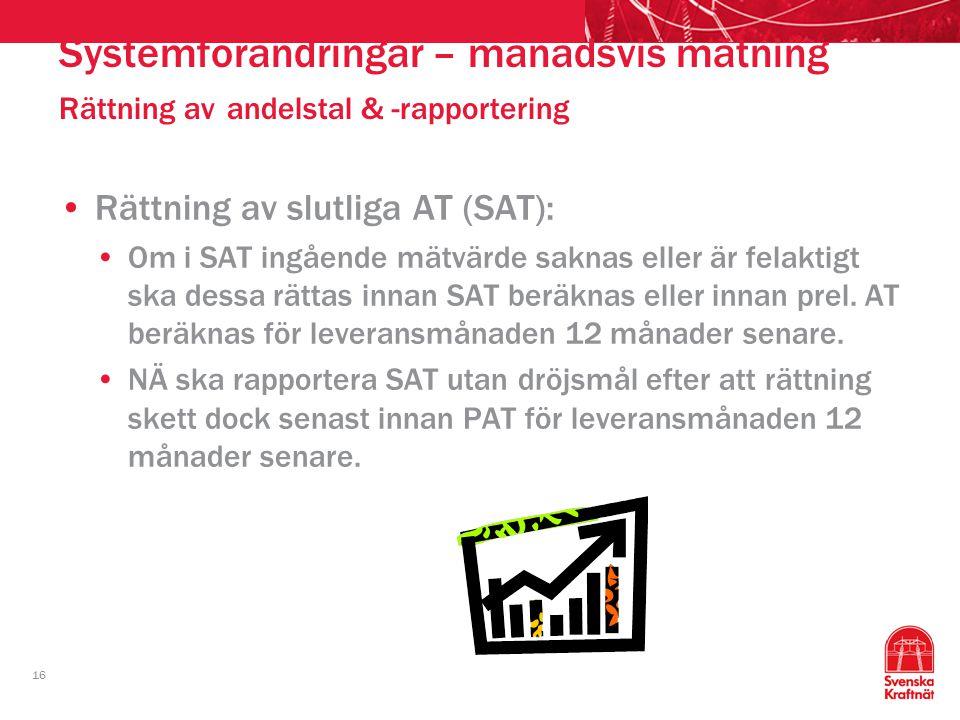 Systemförändringar – månadsvis mätning Rättning av andelstal & -rapportering