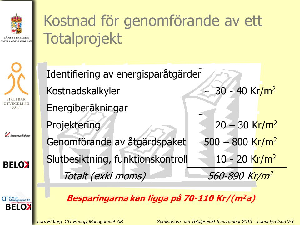 Besparingarna kan ligga på 70-110 Kr/(m2a)