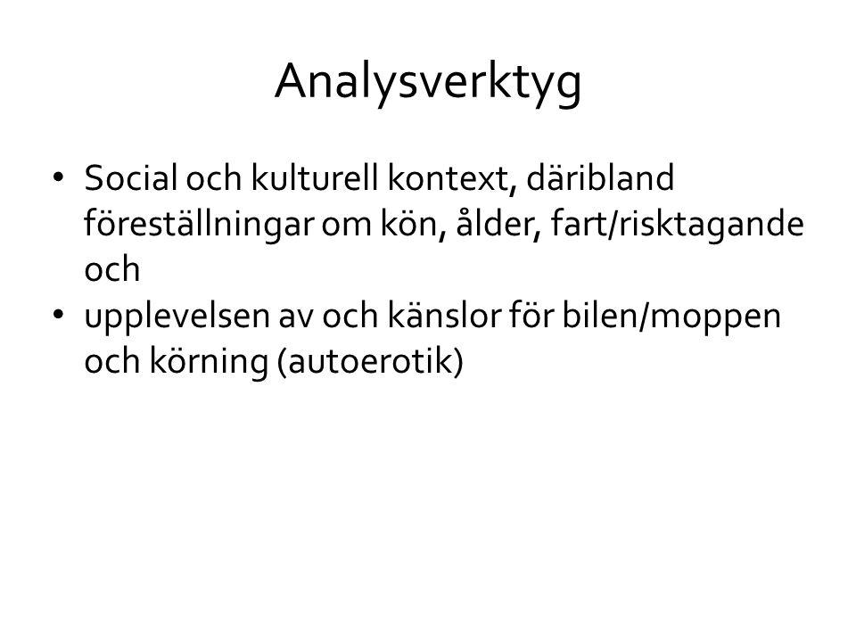 Analysverktyg Social och kulturell kontext, däribland föreställningar om kön, ålder, fart/risktagande och.