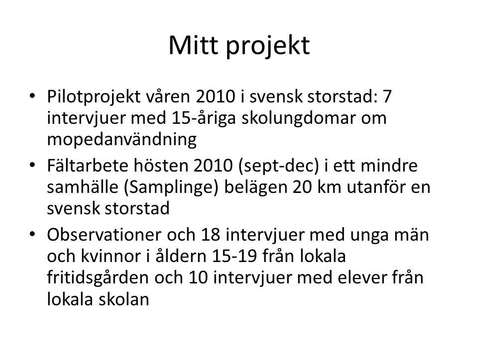 Mitt projekt Pilotprojekt våren 2010 i svensk storstad: 7 intervjuer med 15-åriga skolungdomar om mopedanvändning.