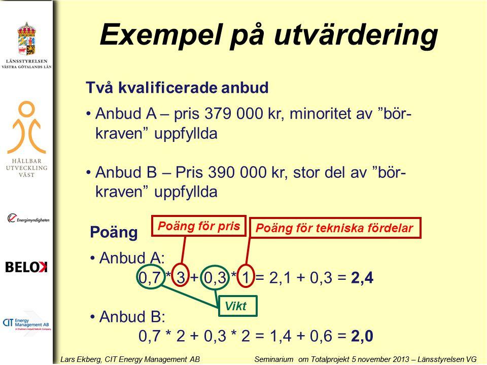 Exempel på utvärdering