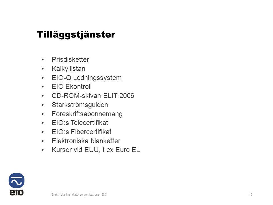 Tilläggstjänster Prisdisketter Kalkyllistan EIO-Q Ledningssystem