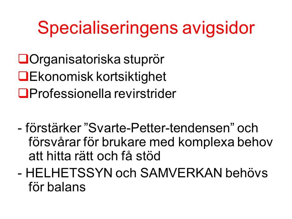 Specialiseringens avigsidor