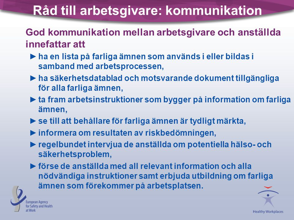 Råd till arbetsgivare: kommunikation