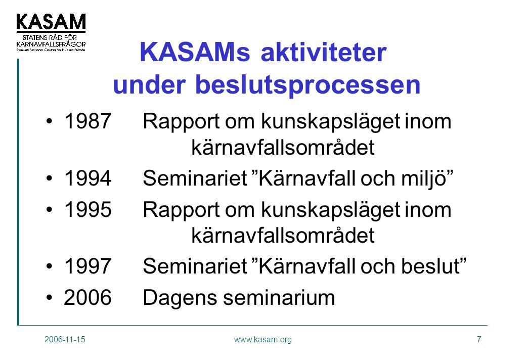 KASAMs aktiviteter under beslutsprocessen