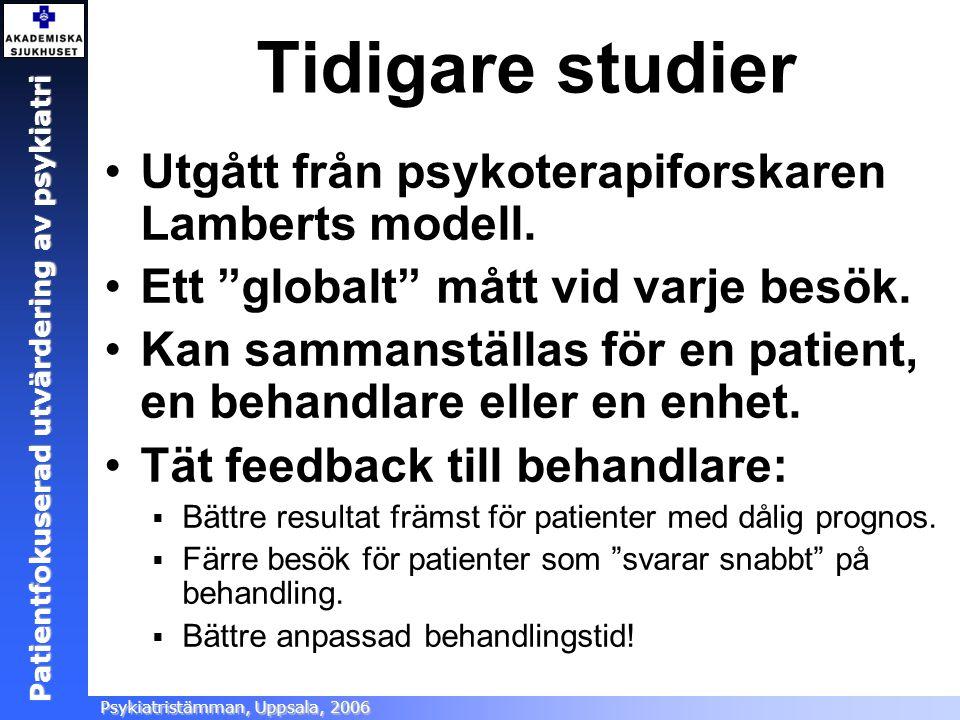 Tidigare studier Utgått från psykoterapiforskaren Lamberts modell.