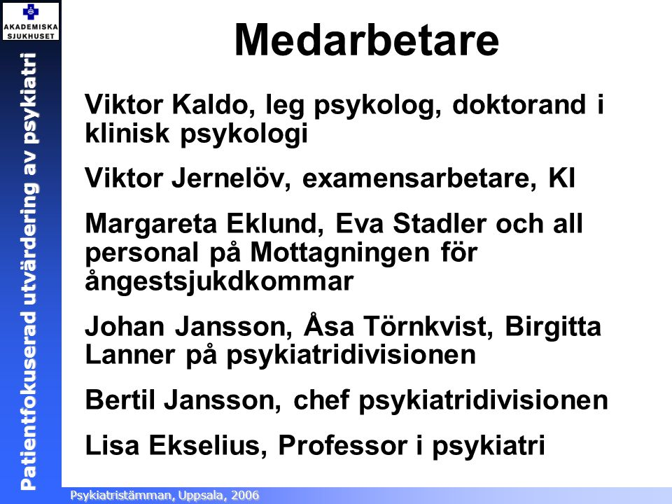 Medarbetare Viktor Kaldo, leg psykolog, doktorand i klinisk psykologi