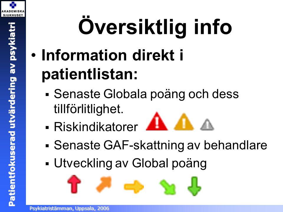 Översiktlig info Information direkt i patientlistan: