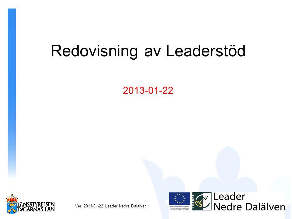 Redovisning av Leaderstöd