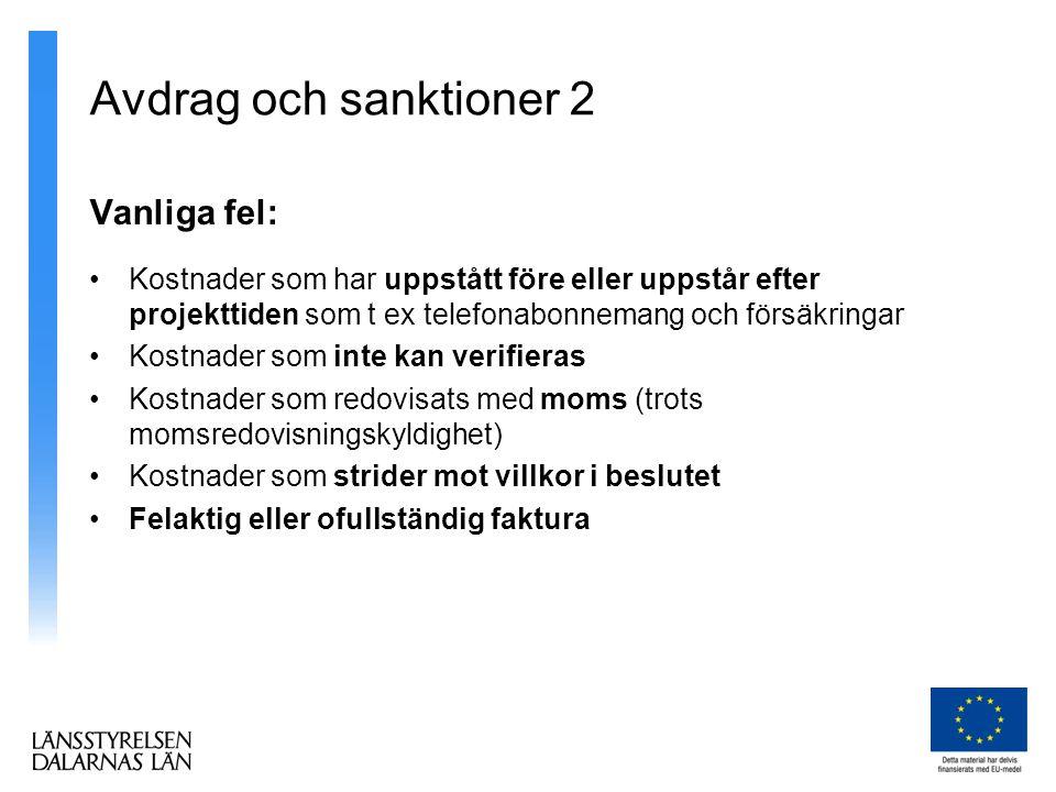 Avdrag och sanktioner 2 Vanliga fel: