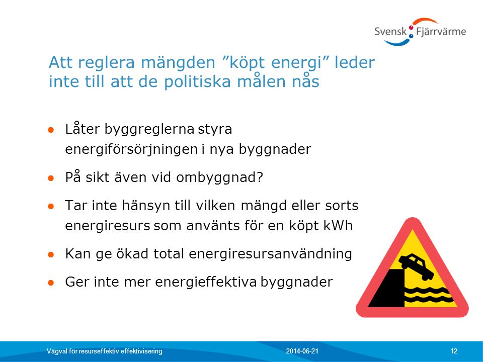 Att reglera mängden köpt energi leder inte till att de politiska målen nås