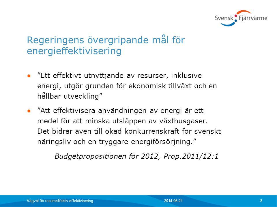 Regeringens övergripande mål för energieffektivisering