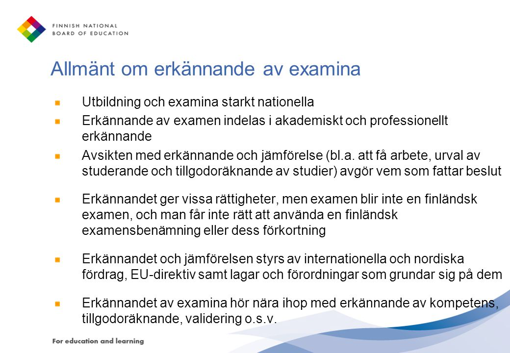 Allmänt om erkännande av examina