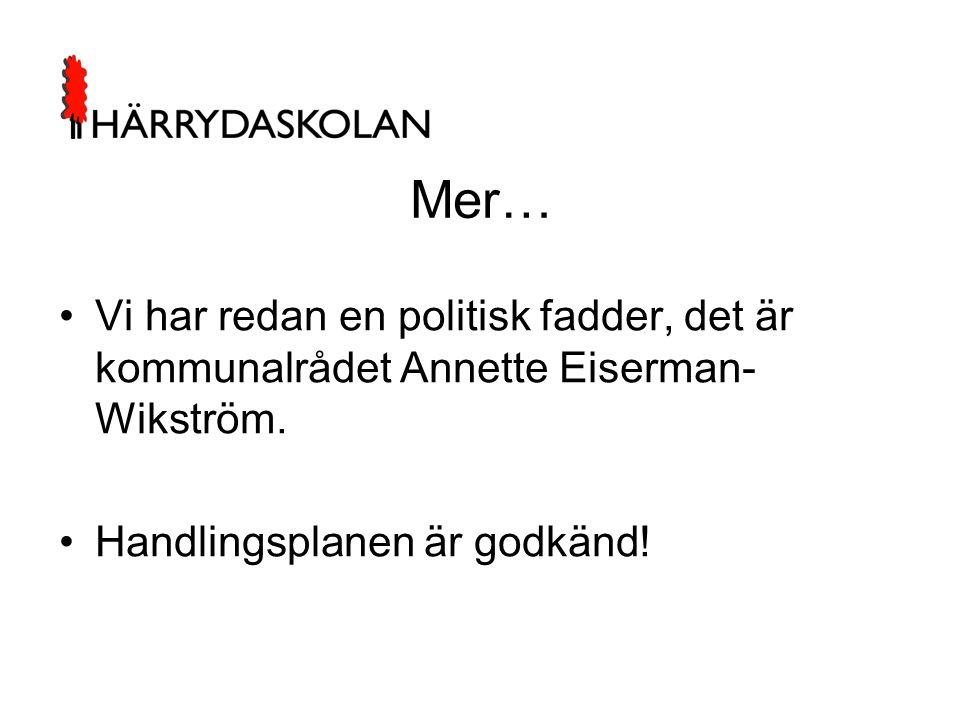 Mer… Vi har redan en politisk fadder, det är kommunalrådet Annette Eiserman-Wikström.
