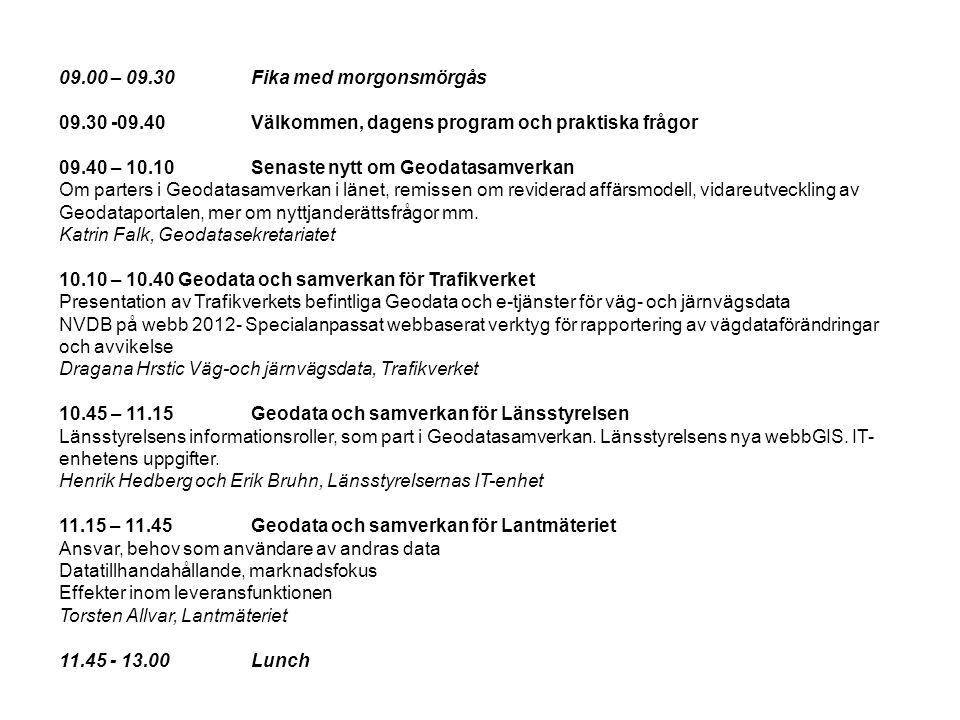 09.00 – 09.30 Fika med morgonsmörgås