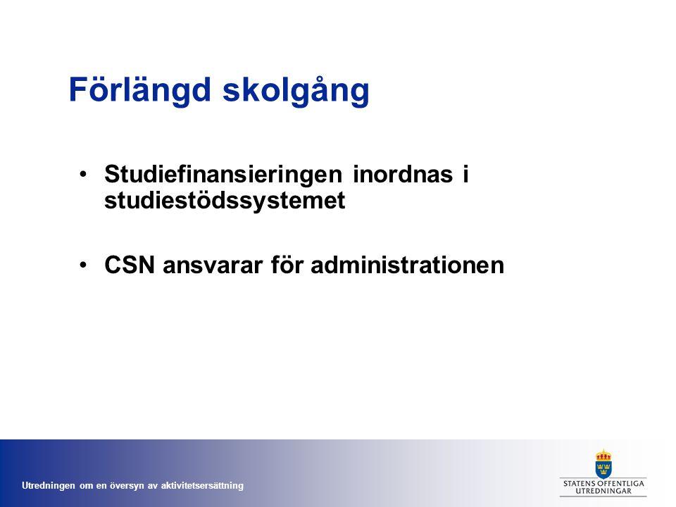 Förlängd skolgång Studiefinansieringen inordnas i studiestödssystemet