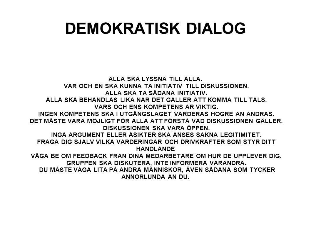 DEMOKRATISK DIALOG ALLA SKA LYSSNA TILL ALLA.