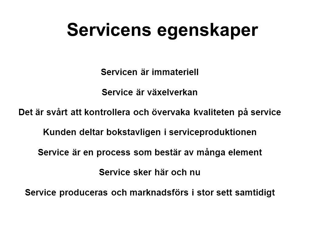 Servicens egenskaper Servicen är immateriell Service är växelverkan