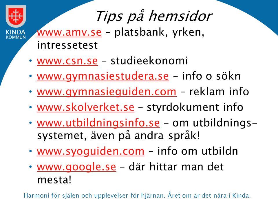 Tips på hemsidor www.amv.se – platsbank, yrken, intressetest