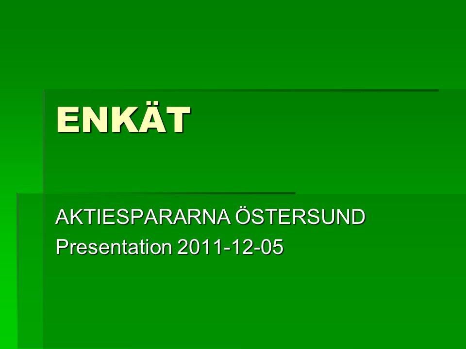 AKTIESPARARNA ÖSTERSUND Presentation 2011-12-05