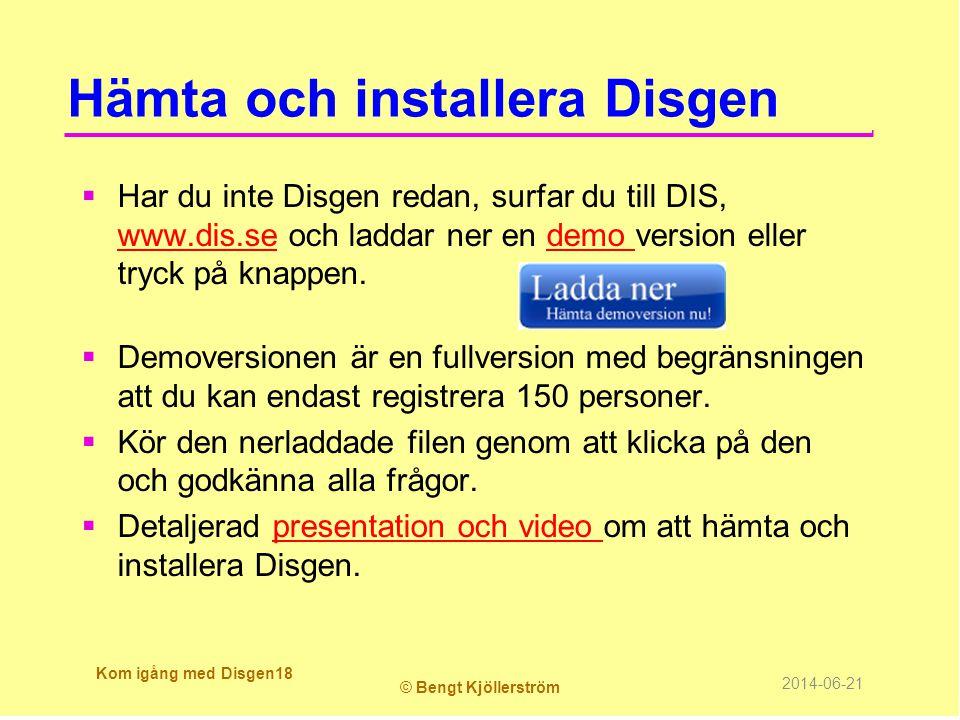Hämta och installera Disgen
