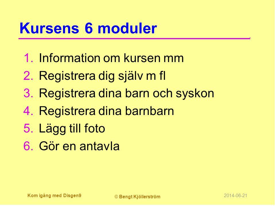 Kursens 6 moduler Information om kursen mm Registrera dig själv m fl