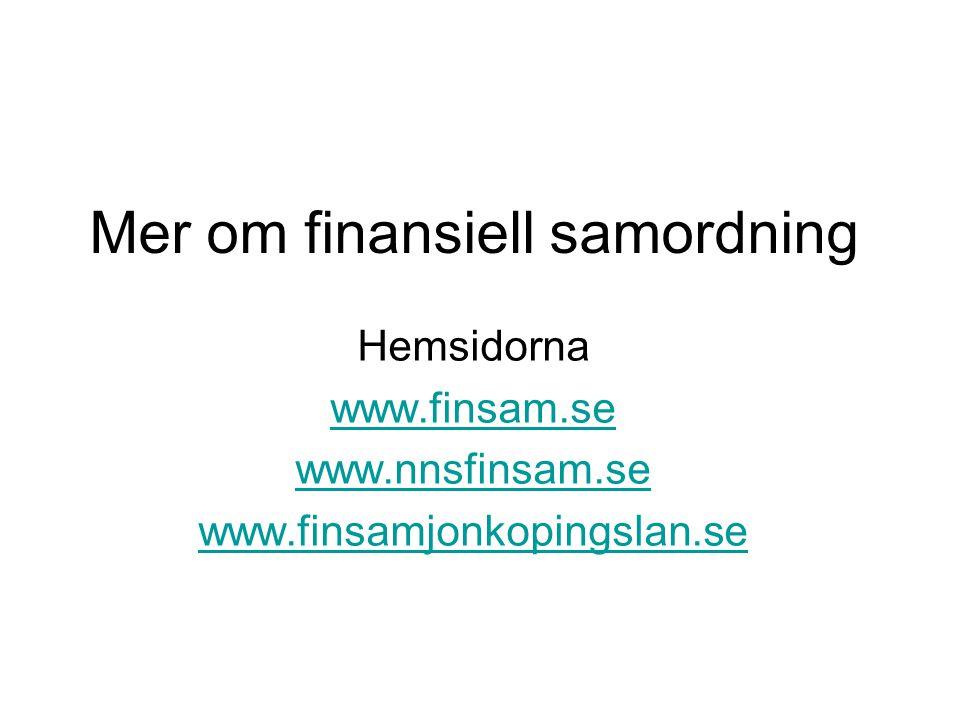 Mer om finansiell samordning
