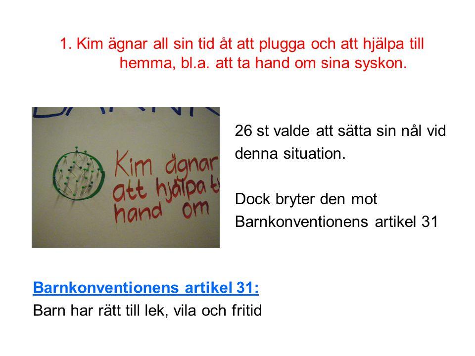 1. Kim ägnar all sin tid åt att plugga och att hjälpa till hemma, bl.a. att ta hand om sina syskon.
