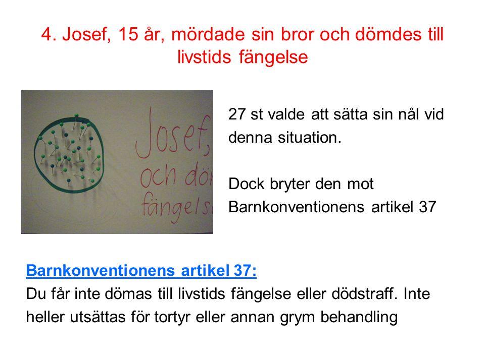 4. Josef, 15 år, mördade sin bror och dömdes till livstids fängelse