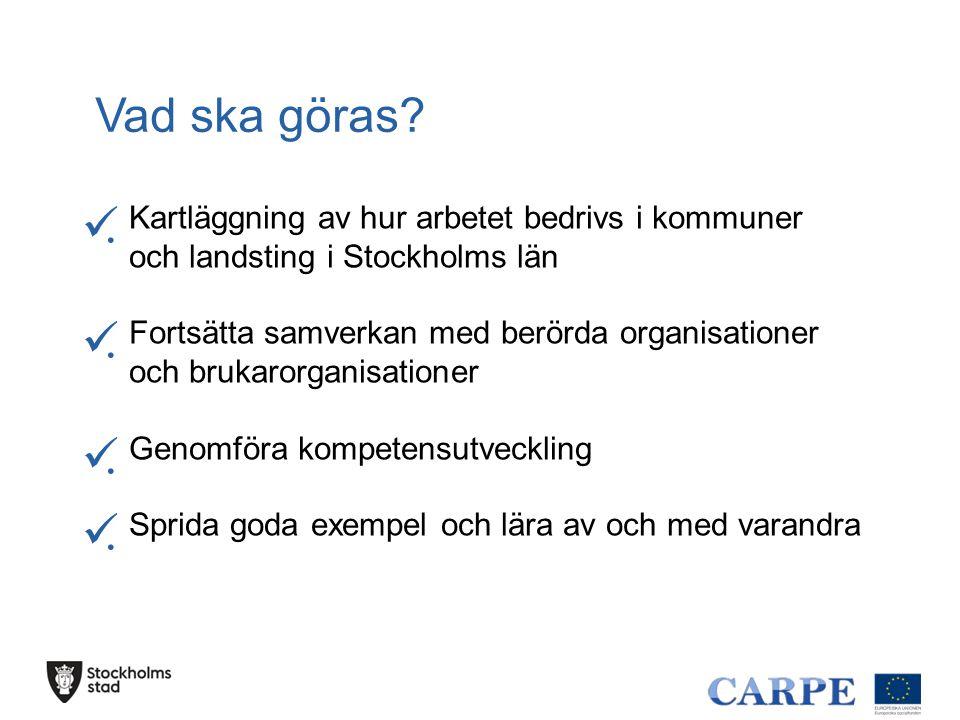Vad ska göras . Kartläggning av hur arbetet bedrivs i kommuner och landsting i Stockholms län.