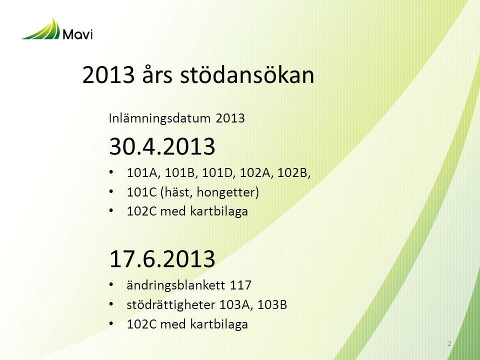 2013 års stödansökan 30.4.2013 17.6.2013 Inlämningsdatum 2013