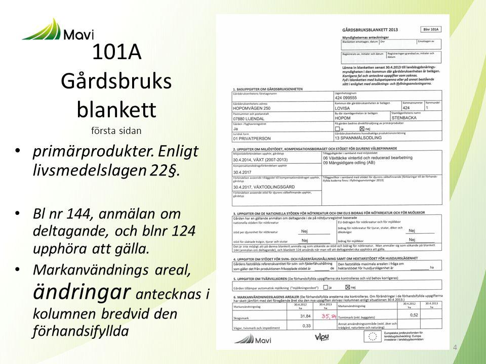 101A Gårdsbruks blankett första sidan