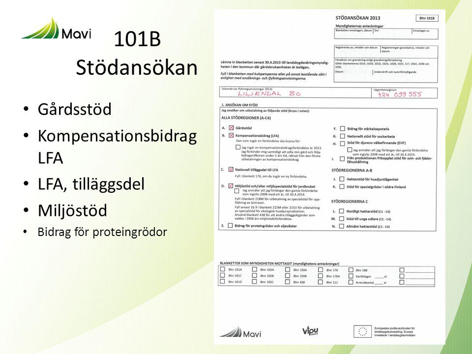 101B Stödansökan Gårdsstöd Kompensationsbidrag LFA LFA, tilläggsdel
