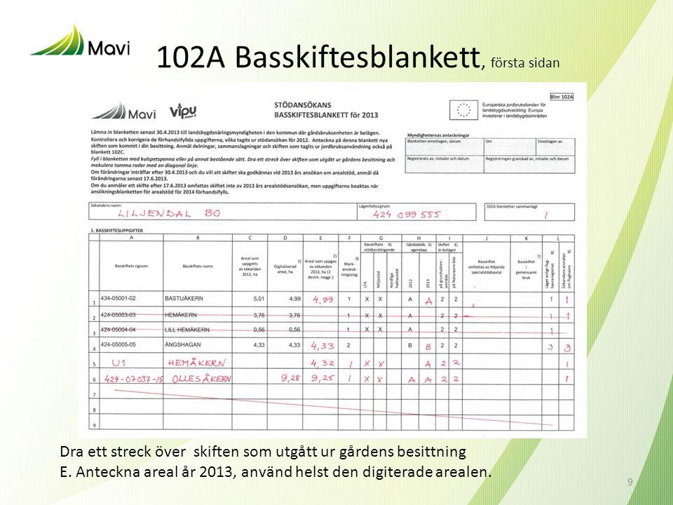 102A Basskiftesblankett, första sidan