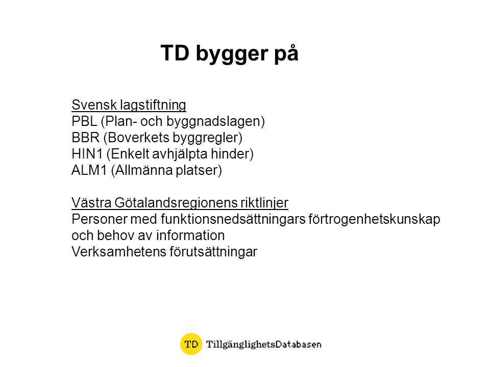 TD bygger på Svensk lagstiftning PBL (Plan- och byggnadslagen)