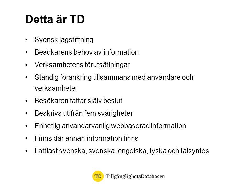 Detta är TD Svensk lagstiftning Besökarens behov av information