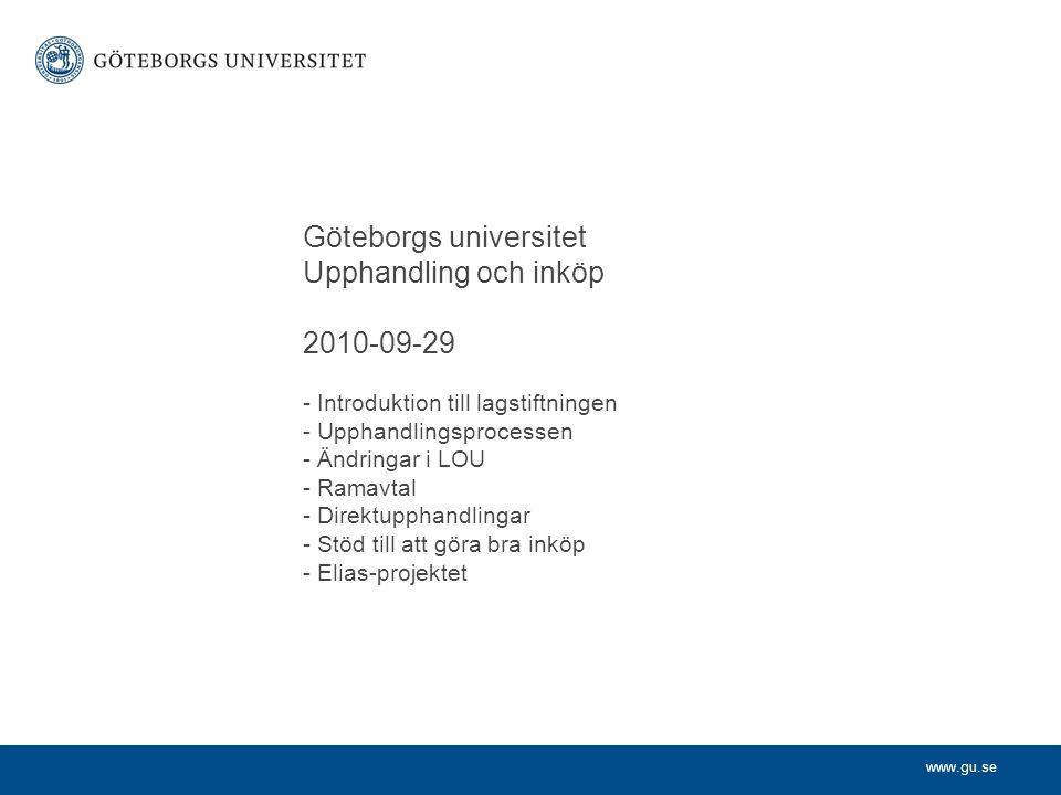 Göteborgs universitet. Upphandling och inköp. 2010-09-29